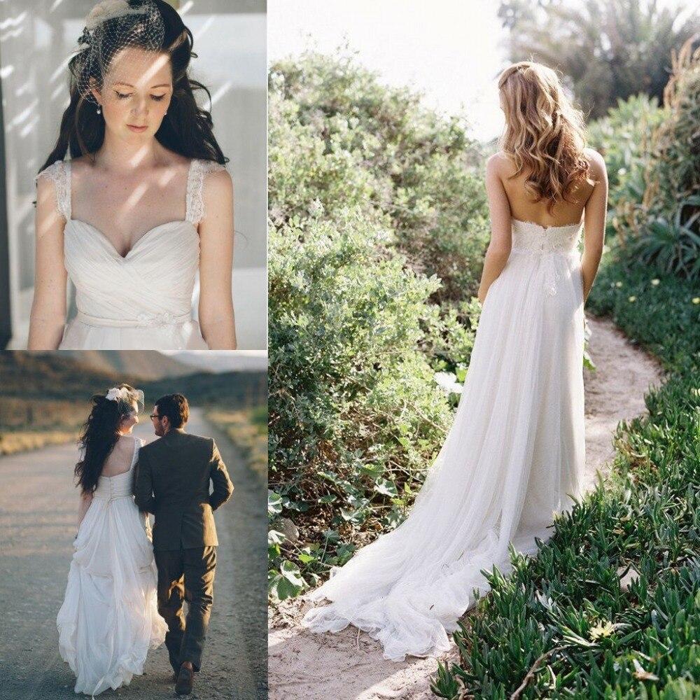 Online Flowing Beach Wedding Dress Women Summer Ivory Chiffon