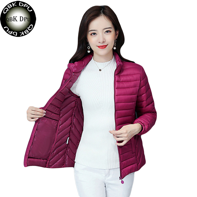 Women Casual Ultra Light   Parkas   Winter Stand Collar Warm Coat Plus Size Candy Color Cotton Padded Jacket Female Short   Parka