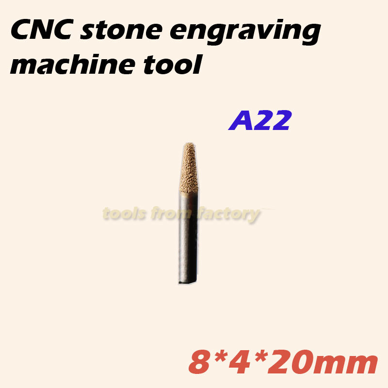 1pc 8*4*20mm cnc router diamond stone carving tool stone engraving machine cutter stone cutting bits 1pc 20deg 8 6mm cnc router cutter stone electroplated diamond stone carving tool stone engraving machine cutting bits
