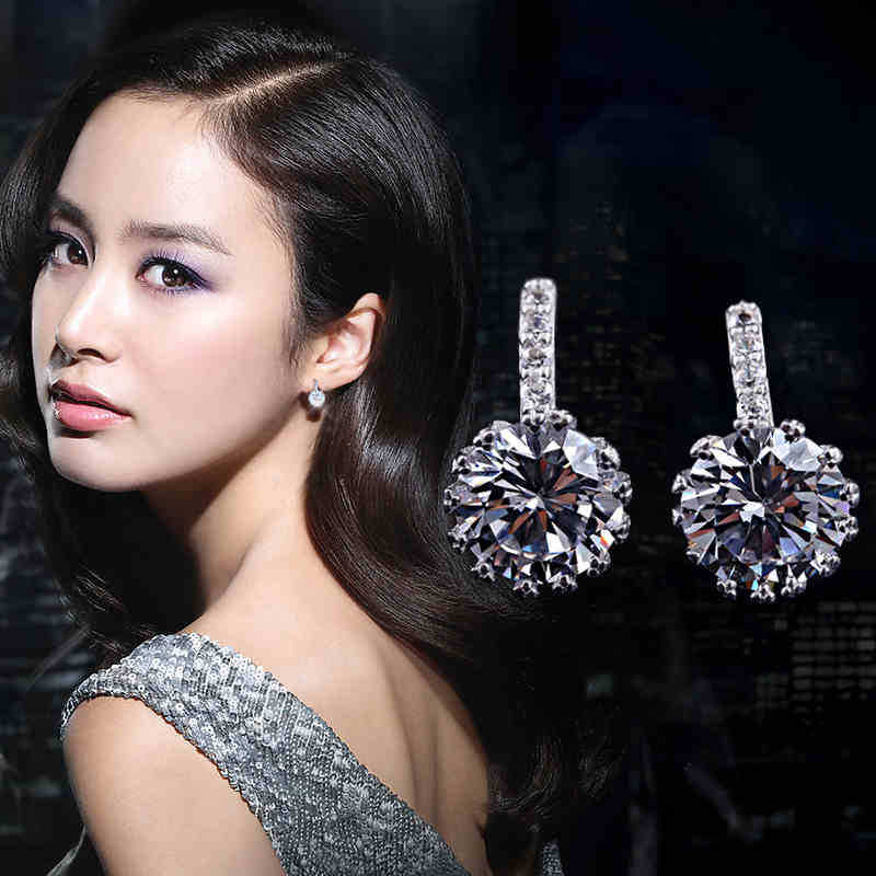 Fashion Hot Sale Wholesale 2017 New Design Super Shiny Zircon 925 Sterling Silver Stud Earrings for Women Girls Jewelry Gift