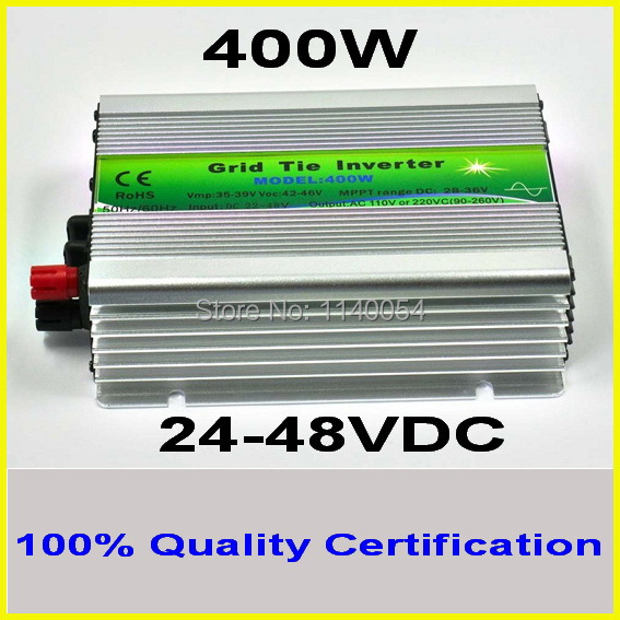 400W 24-48VDC MPPT Grid Tie Inverter,400-480W 36V DC to AC 120V or 230V Pure Sine Wave Output Solar Wind Power Home Use Inverter
