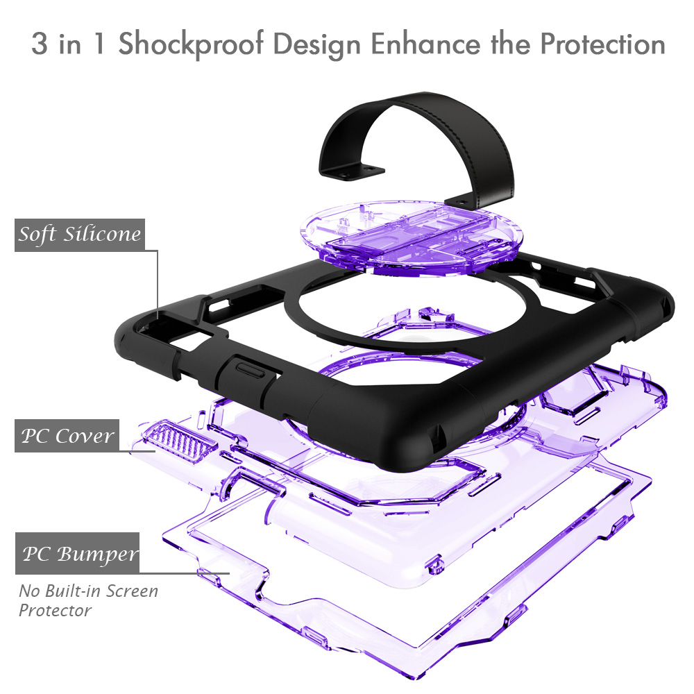 2018 Hot Sale Tablet Case for iPad 2/3/4 Heavy Duty Silicone Rugged Hybrid Cover Leather Handle Shoulder Strap Coque-Miesherk