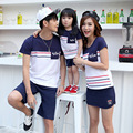 2017 Family Matching Outfits Spring mom/dad/child clothes, mom and daughter striped Short sleeve Cotton T-shirt Family Look