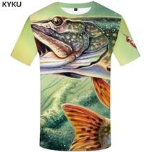 KYKU Fish T Shirt Men Anime Printed Tshirt Animal Hip Hop Tee Tracksuits Fishinger Art 3d T-shirt Funny Punk Rock Mens Clothing