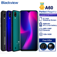 Blackview A60 Mobile Phone Quad Core Android 8.1 4080mAh Smartphone 1GB RAM 16ROM 6.1Full Inch 13MP+5MP Camera 3G CellPhone