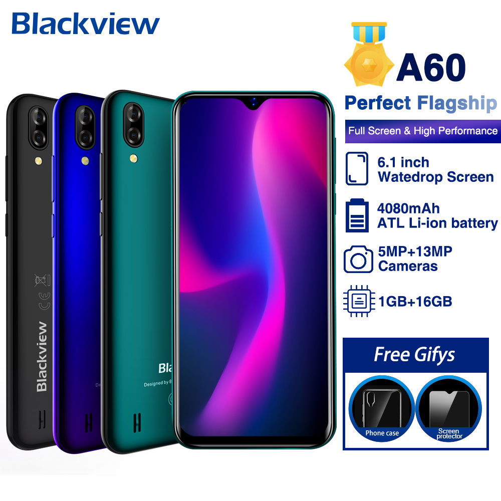 Cep telefonları ve Telekomünikasyon Ürünleri'ten Cep Telefonları'de Blackview A60 Cep Telefonu Quad Core Android 8.1 4080 mAh Smartphone 1 GB RAM 16ROM 6.1 Tam Inç 13MP + 5MP Kamera 3G Cep Telefonu