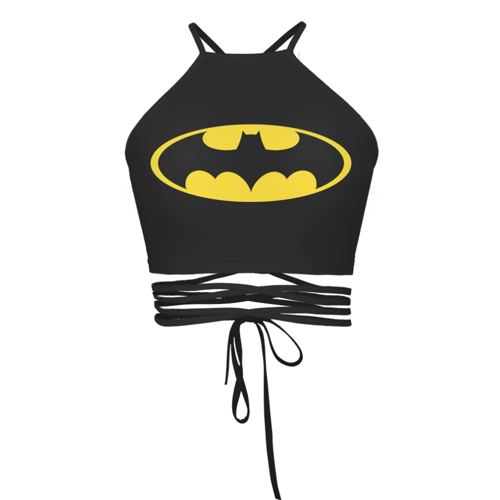 54d02318dfde5e 2016 The Newest Summer Style For Women 3D Printed Black Back Batman Cat  Seleton Sexy Bandage Halter Tops Cropped Feminino-in Camis from Women s  Clothing on ...