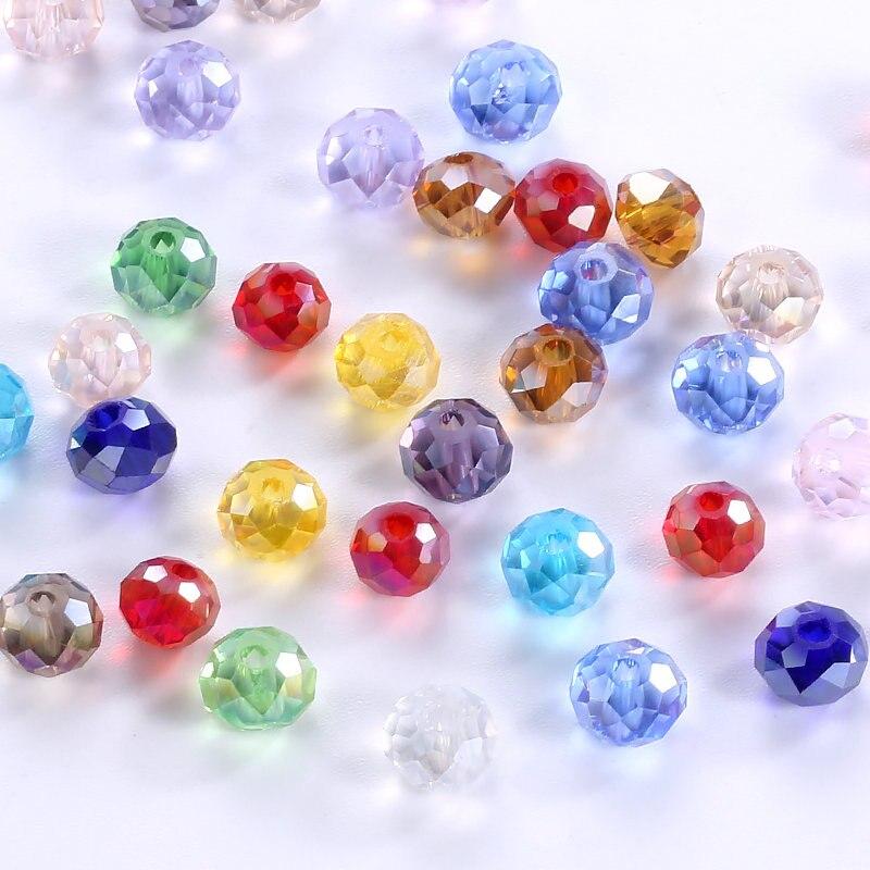 4-мм 10 мм модные ювелирные бусины смешанные цвета блестящие стеклянные бусины Круглые бусины хрустальные свободные бусины для браслета Ожерелье Изготовление ювелирных изделий