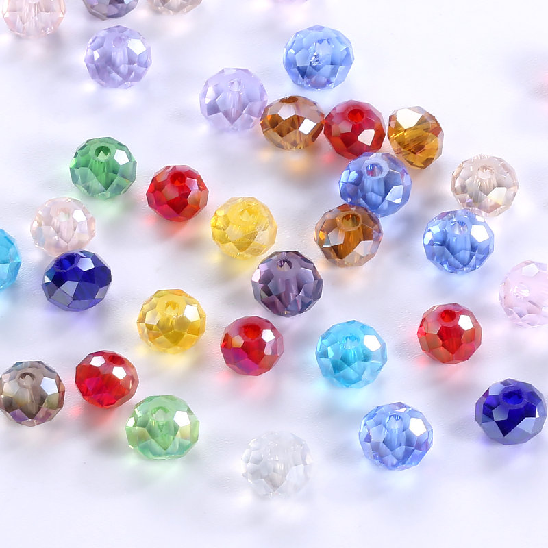 4-10mm Fashion jewelry beads mixed color shiny glass beads round beads crystal Loose beads for bracelet necklace Jewelry Making