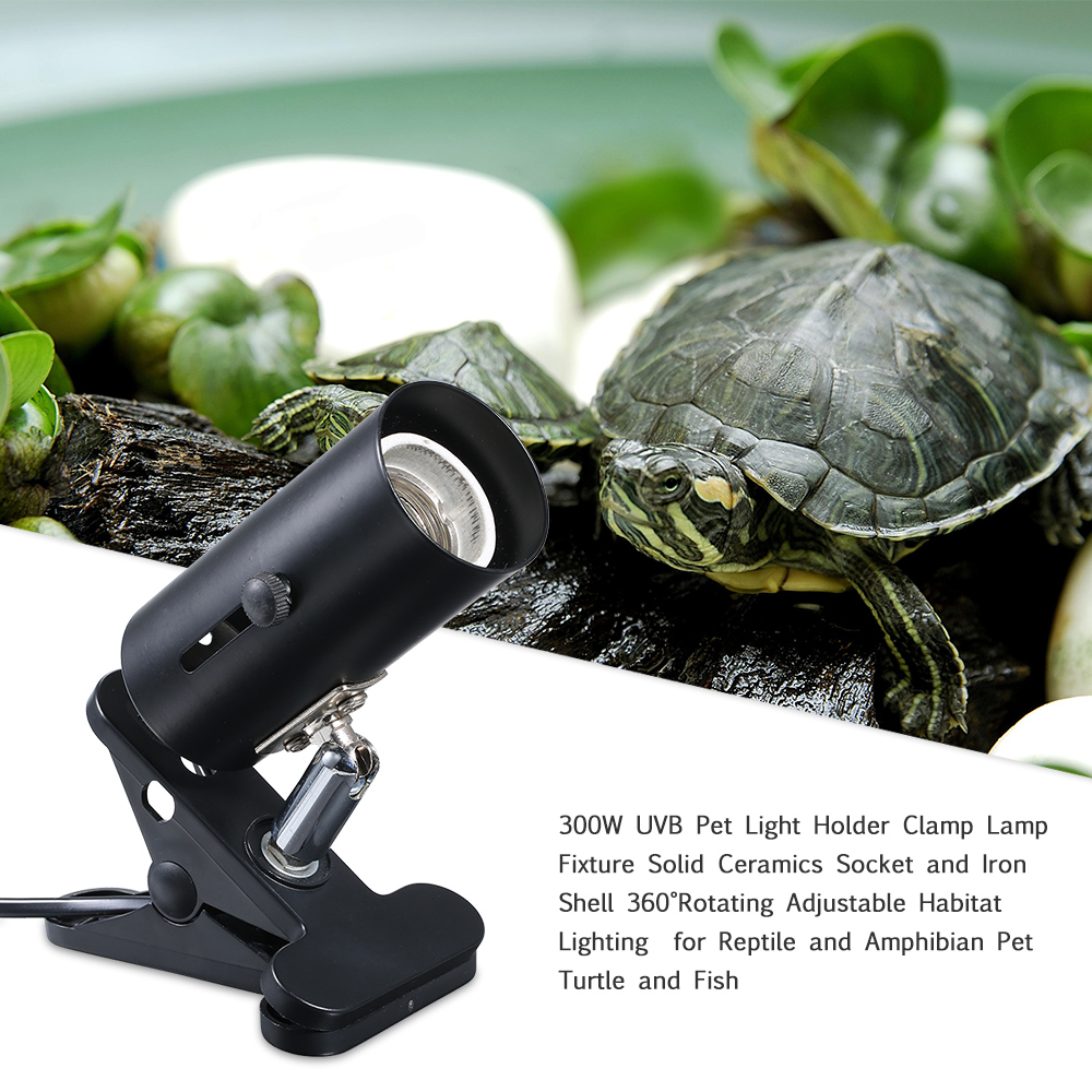 UVA+UVB Base 300W Stand Metal Heating Bulb Clip Turtle With Switch Fish Tank Pet Reptile Lamp Holder Light Clamp Habitat Fixture