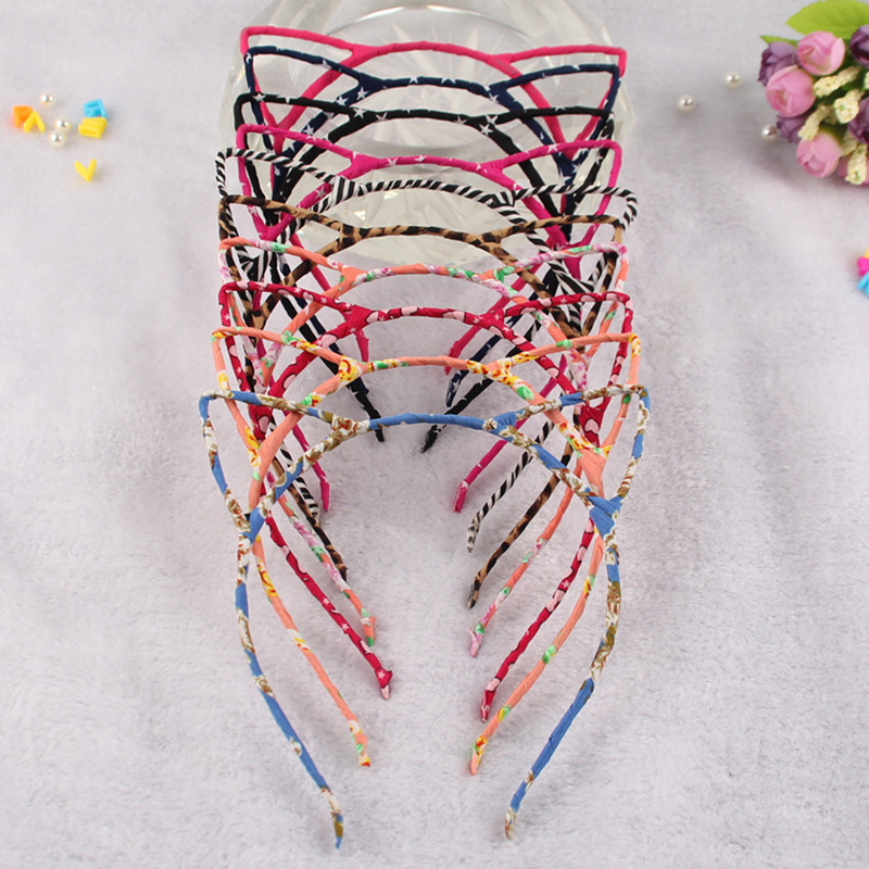10pcs lot Wholesale Cat Ear 39 s Hairband Headband Quality Alloy Bezel For Girls Leopard Hair Band Sex Women Hair Accessories in Hair Accessories from Mother amp Kids
