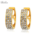 Hot jewelry Gold Plated Round Earrings Rhinestone Hoop Earrings For Women Fashion Jewelry Brincos Party Gift(E0027)