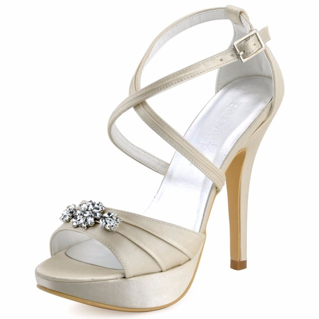 854a819391 US $58.99  EP2115 PF White Women Sandals Open Toe Bridal Prom Party Cross  strap Platform Rhinestones Pleat Satin Buckle Strap Wedding Shoes-in  Women's ...