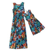Summer Family Matching Mother Daughter Floral Maxi Dress