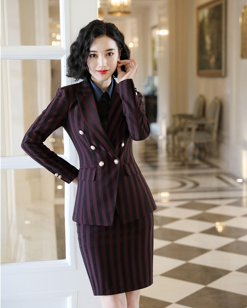 High Quality Fabric Formal Women Business Suits With Blazer And Skirt Fashion Striped For Ladies Work Wear Blazers Outfits Set