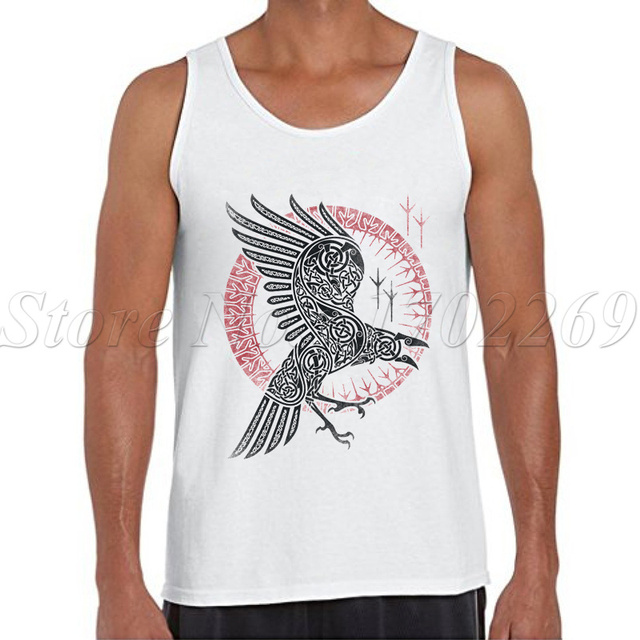 a57d51aaaaca4f 2018 New Fashion Men Summer Tank tops Ragnar s Raven retro printed male  Geometric Eagle casual Vest