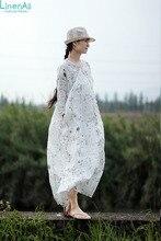 LinenAll women's dress, Summer thin refreshing ramie V-neck plate buttons three quarter sleeve loose one-piece dress gown yijiu