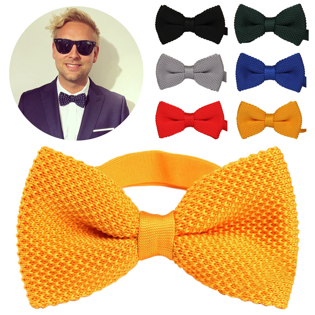 Men's Double Layer Solid Color Knit Bowtie Thick Pre Tied Adjustable Knitting Casual Ties Men Neck Ties Tuxedo Knitted Bowtie
