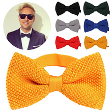 Mens Double Layer Solid Color Knit Bowtie Thick Pre Tied Adjustable Knitting Casual Ties Men Neck Tuxedo Knitted