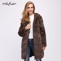 Milyfuer Real Rex Rabbit Coat Women Long Wear Both Sides Solid Full Pelt Autumn Winter Warm