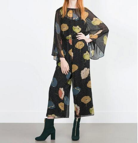 VogaIn 2016 Fashion Women Black Chiffon Wide Leg Loose Printed Jumpersuits Long Sleeved