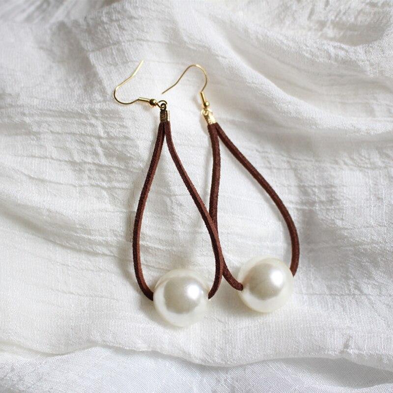 Women Vintage Handmade Leather Big Simulated Pearl Drop