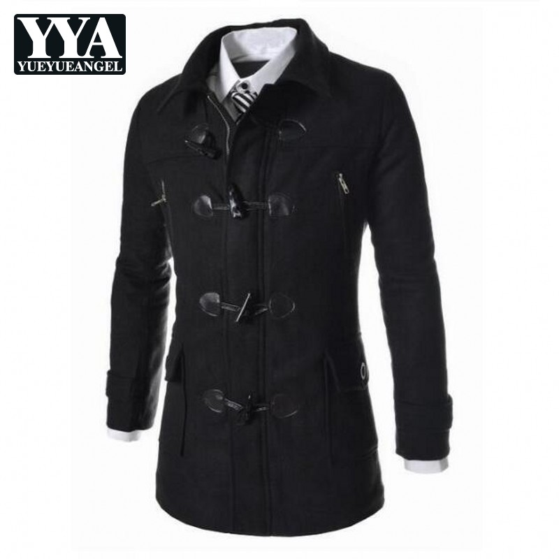 New Winter Mens Woolen Coats Slim Fit Casual Long Overcoats Fashion Solid Detachable Hooded Outerwear Plus Size M-3XL