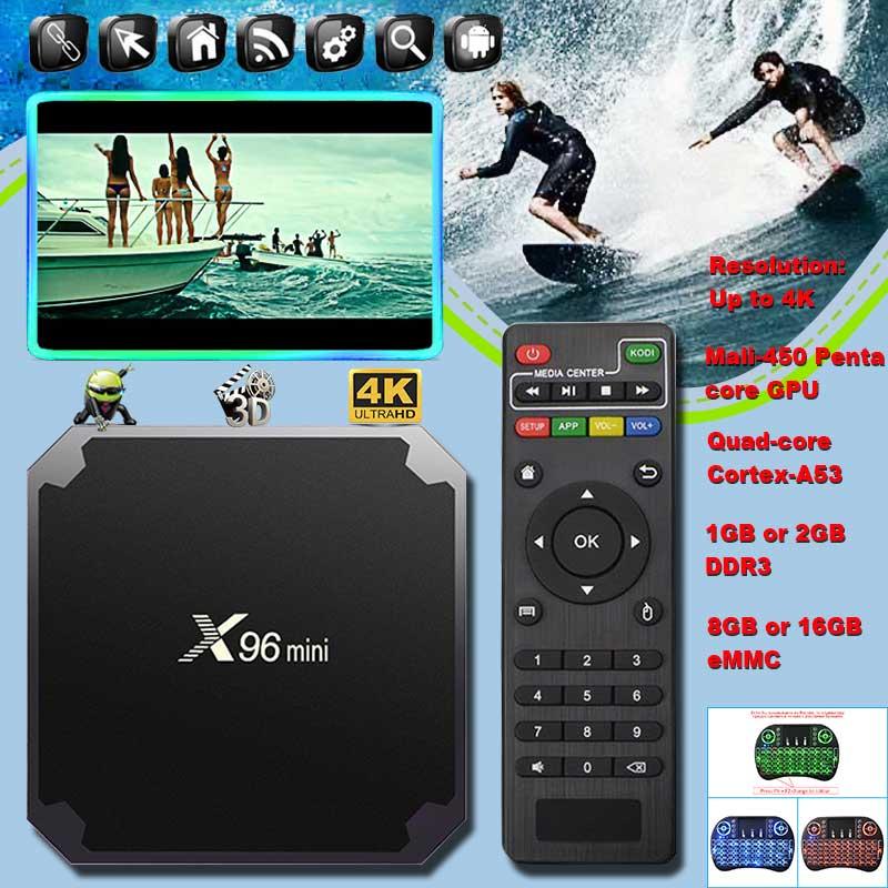 5pcs X96 Mini Smart Tv Box X96mini tvbox Android 7.1 OS 1G 8G 2GB 16GB Amlogic S905W Quad Core 2.4G WiFi 4K X 96 Set top Boxes