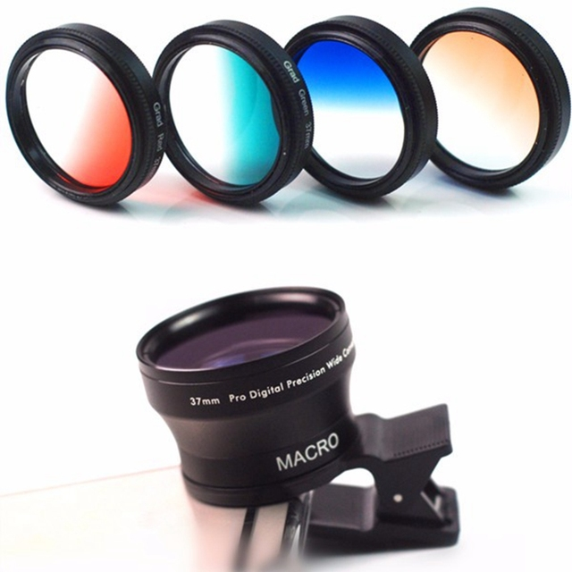 11 En 1 Universal de Gran Angular Macro Lente para Teléfonos Inteligentes con clip cpl polarizador filtro de gradiente lente para samsung móvil teléfonos