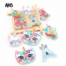 AHB 2pcs Gold Unicorn Liquid Quicksand Cover Back To School Decor Sequin Acrylic Accessories For Phone DIY Hair Bow Patch Cases