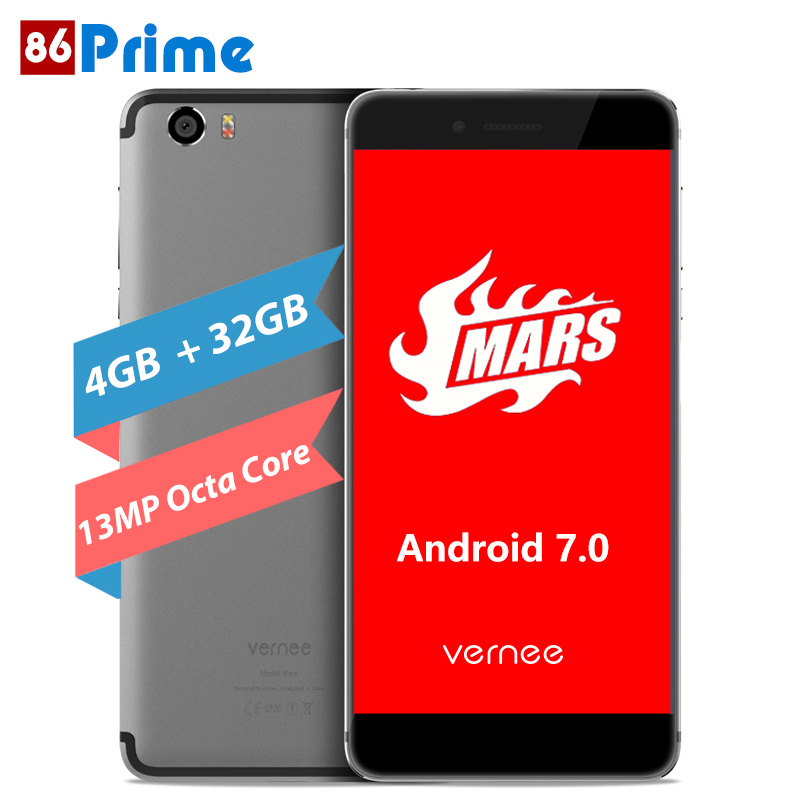 Original Vernee Mars Mobile Phone 4G LTE Android 7.0 Cellphone 5.5 inch FHD 4G Smartphone MT6755 Octa Core 4G RAM Type-C 13.0MP