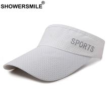 SHOWERSMILE Sun Sports Visor Men Women Cap White Summer Outdoor Breathable Snapback Letter Deco Unisex Quick Dry Canvas Hat