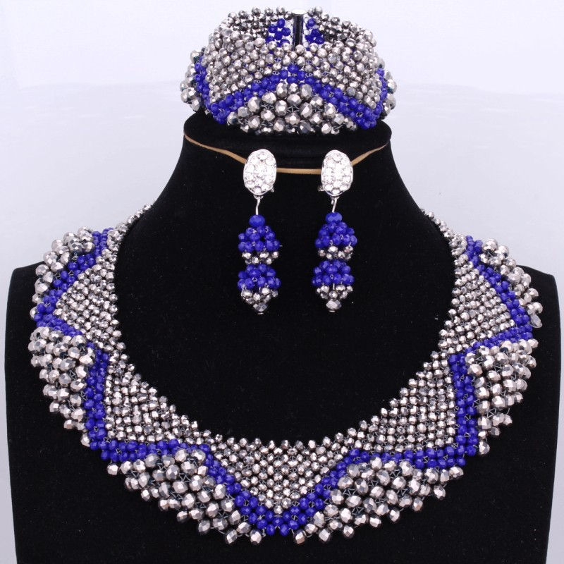 Bridal Jewelry Sets for Women Wedding African Royal Blue and Silver Nigerian Necklaces Sets Free Shipping Dubai Necklace Set stonefans rosered dubai jewelry sets for women in nigerian wedding set prom necklace rhinestone necklace and earing sets wedding