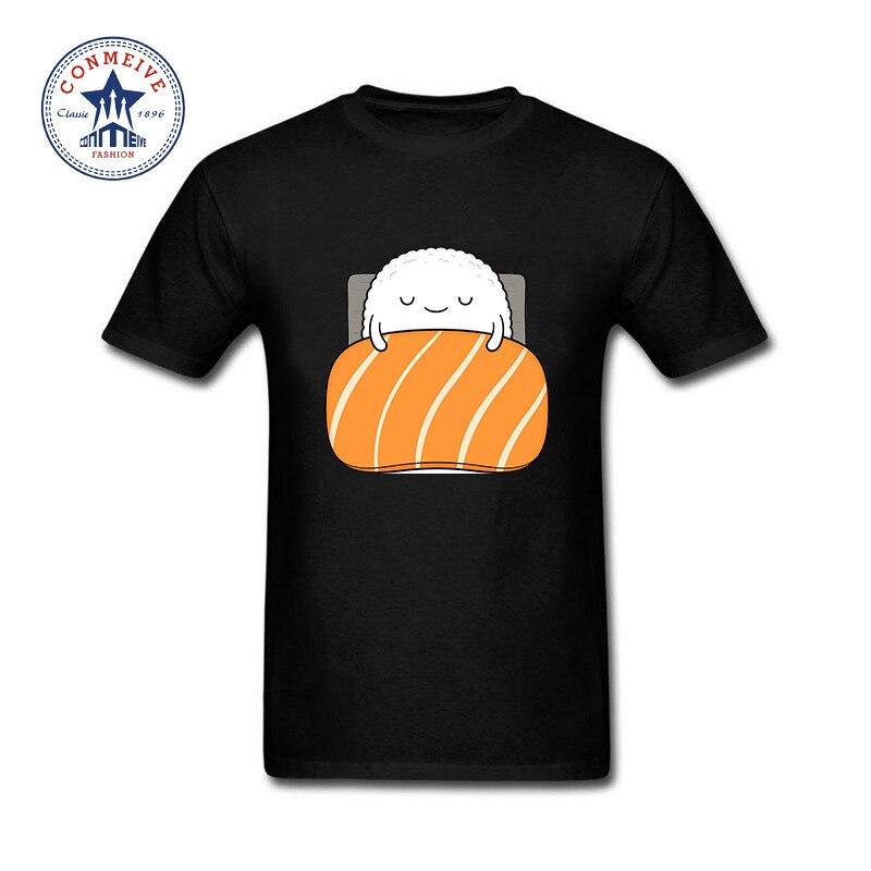 2017 Hippie De Base Tops Drôle Sleepy sushi Saumon Tee Coton T Chemise pour hommes
