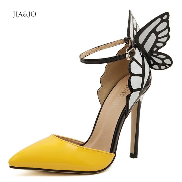 Plus Size 35-41 Women Butterfly Sandals Thin Heels 11cm Ankle Strap Sandal Heels Summer Dress Shoes for Women Yellow Purple 3825
