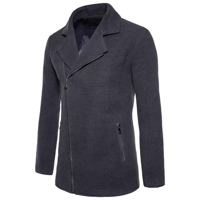 Laamei Brand Winter Autumn Turn Down Collar Zipper Pocket Jacket Solid Long Sleeve Coat Fashion Woolen Blends Jacket Coat 5