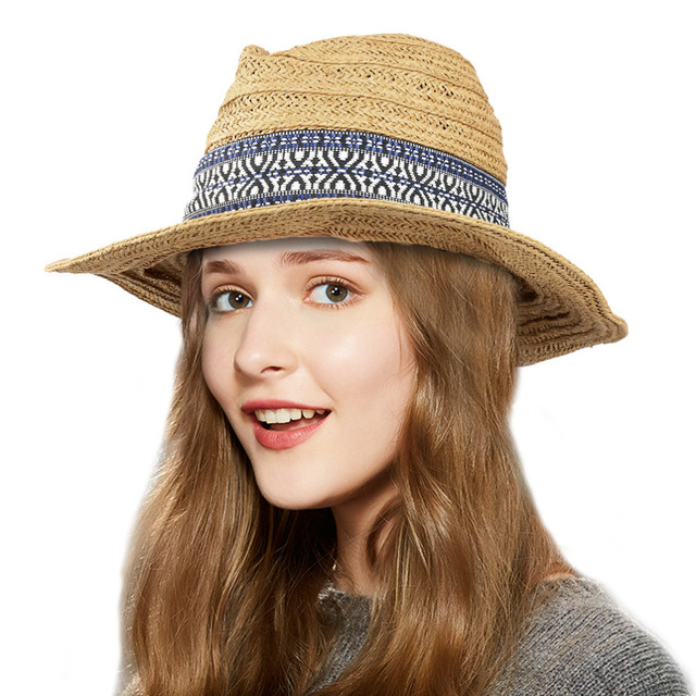 Vbiger Men Women Straw Sun Hat Foldable Wide Brim Hat Floppy Hat Beach Hat  Portable Summer Outdoor Cap Ribbon Decor e15f9009df22