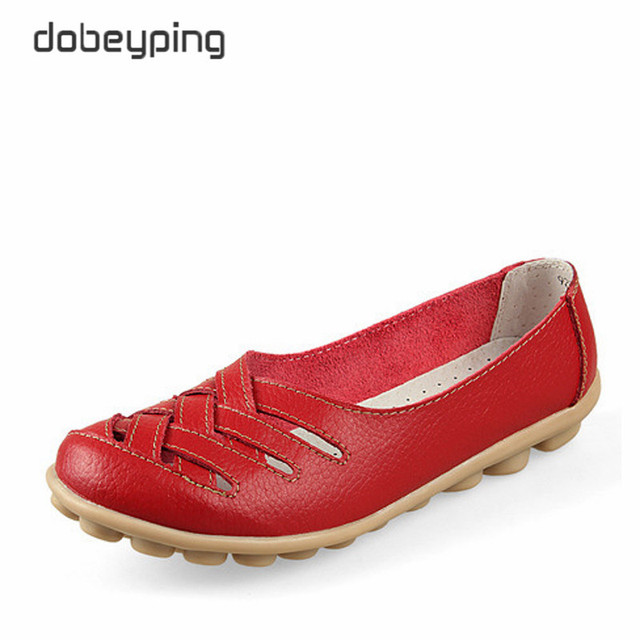 New Women's Casual Shoes Genuine Leather Woman Loafers Slip On Female Flats Leisure Ladies Driving Shoe Solid Mother Boat Shoes 1