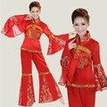 Trajes de Lentejuelas Trajes de baile Chino Antiguo Traje Festivo Nudo Chino Ventilador de la Danza de Ropa Nueva Ropa Yangko Tambor Popular