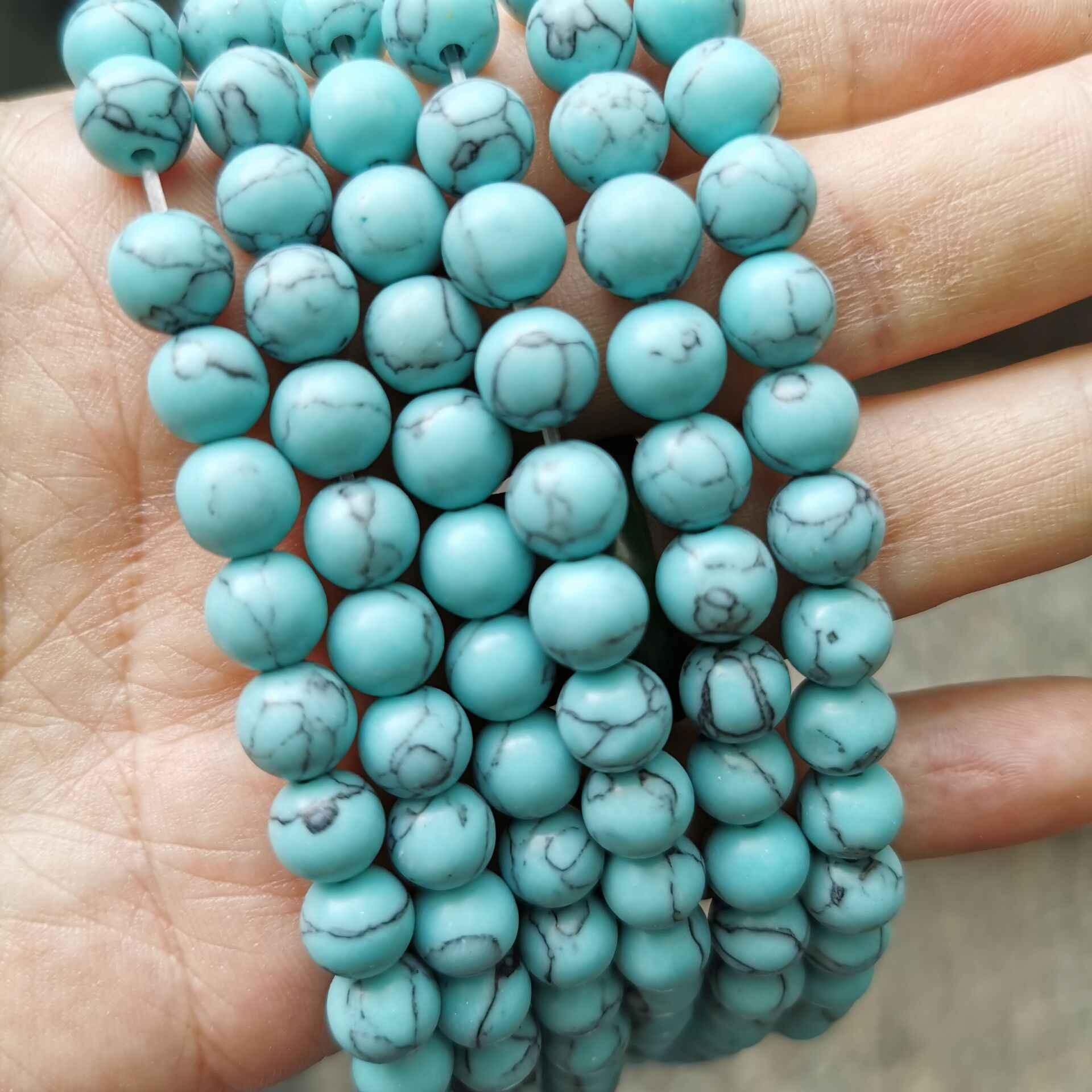 """السلس الحجر الطبيعي الأبيض الأزرق نورس الأسود الفيروز جولة فضفاض الخرز 15 """"ستراند 4 6 8 10 12 مللي متر اختيار حجم لصنع المجوهرات"""