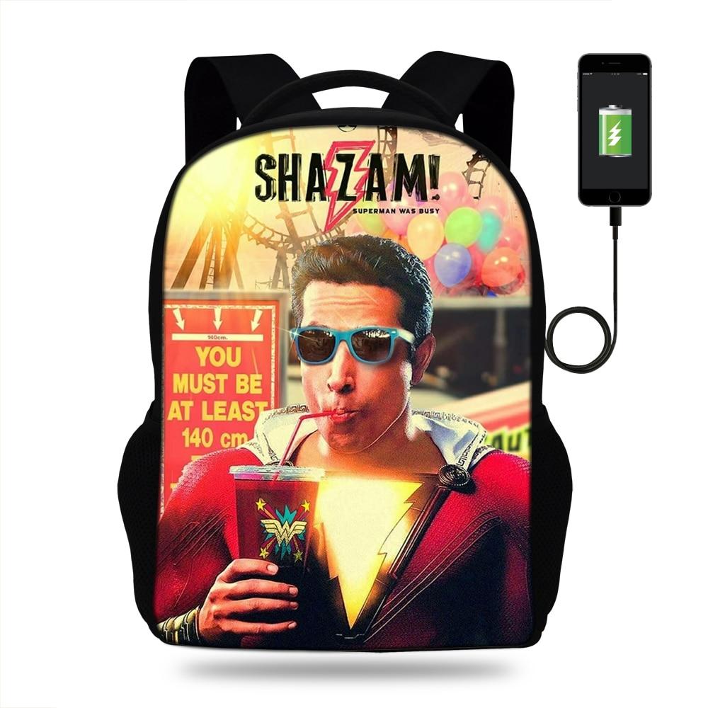 Haben Sie Einen Fragenden Verstand 16-zoll Beliebte Usb Lade Tasche Für Teenager Mädchen Jungen Super Hero Flash-shazam Rucksack Für Schule Kinder Multifunktionale Tasche Reise In Den Spezifikationen VervollstäNdigen Kinder- & Babytaschen Schultaschen