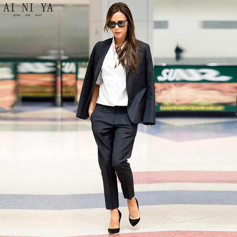 bf8a3b7b6cc Черный для женщин s бизнес костюмы женские офисные форма Дамы брючный костюм  s дизайн Вечерний смокинг