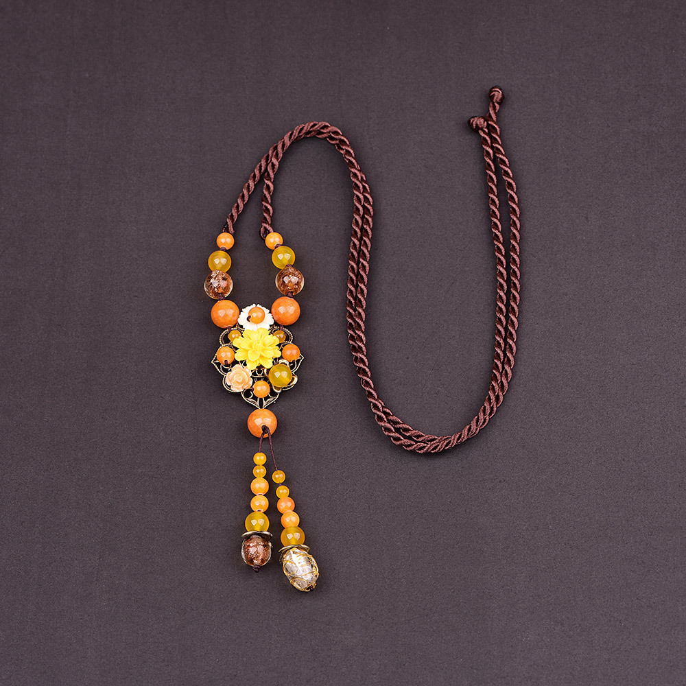 Vintage Yellow <font><b>Fllower</b></font> Chain Female Long Necklace Women Ethnic Nepal Pendant Necklace Crystal Necklaces Fashion Jewelry 2019 image