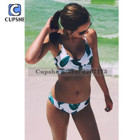 Cupshe 2016 Hot Women S Fresh Leaves Printing Cross Padding Bikini Set