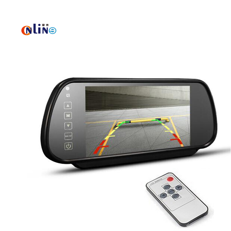 7 TFT HD LCD Color Screen 7 inch Car Rearview Mirror Monitor connect to backup Camera / DVD With 2 Video Input DC 12V PAL/NTSC 2 4ghz wireless 4 3 car vehicle rearview mirror monitor w 7 led night vision camera pal ntsc
