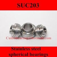 Freeshipping Stainless Steel Spherical Bearings SUC203 UC203 17 47 31mm