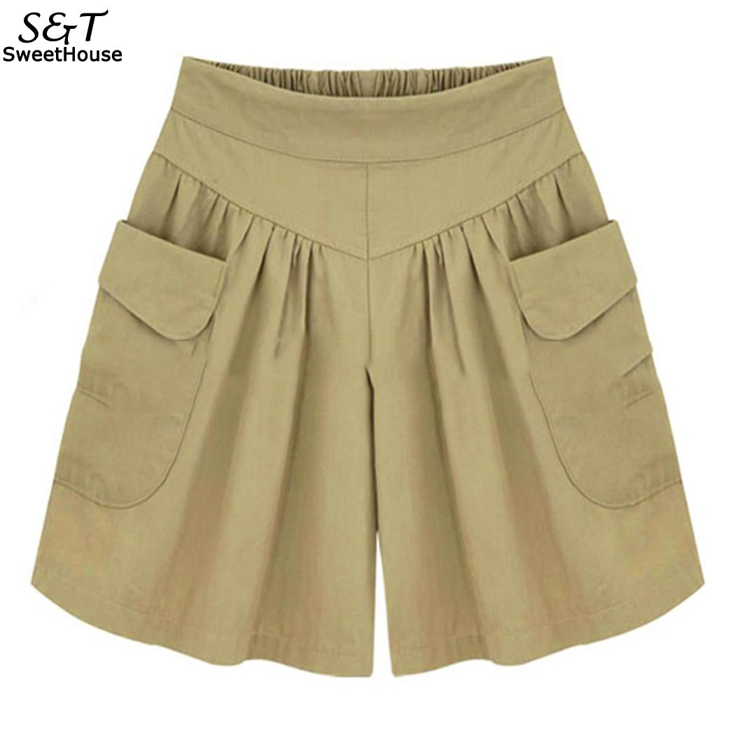 Elastic Casual Wide Legs Women High Waist Plus Size Solid   Shorts   With Pocket   Shorts   Women Korean High Waist Thick