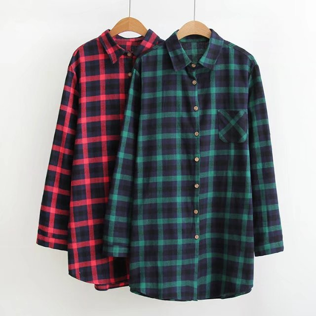 Plus Size XL-3XLRed Green Autumn Women Blouses Casual Blusas Notched Neck  Buttons Long Sleeve Tops Print Plaid Shirts Hot Sale - Online Get Cheap Green Plaid Shirt Womens -Aliexpress.com