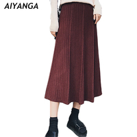 New Autumn Winter Medium Long Knitted Skirts For Women Elastic Waist Knitting Pack Hip Pleated Skirts
