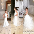 Elegant white/ivory spaghetti straps lace mermaid flower girl dress beautiful formal party wedding birthday first communion gown